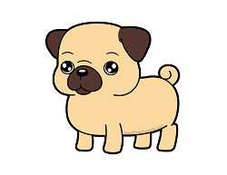 How to draw a Cute Cartoon Pug Puppy Dog