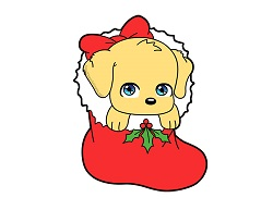 How to Draw a Puppy Dog Cartoon Christmas Stocking Chibi Kawaii