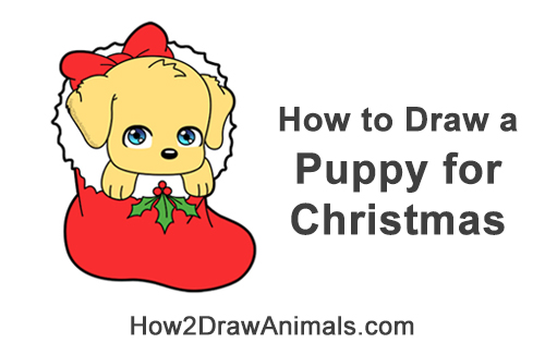 How to Draw a Cute Cartoon Puppy Dog Christmas Stocking Chibi Kawaii