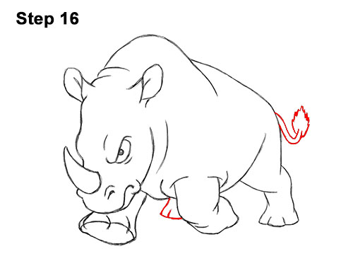 How to Draw Angry Charging Cartoon Rhino Rhinoceros 16