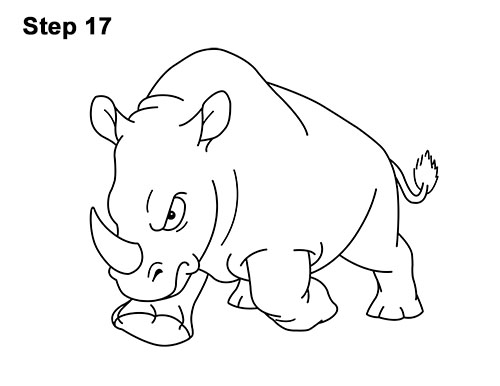 How to Draw Angry Charging Cartoon Rhino Rhinoceros 17