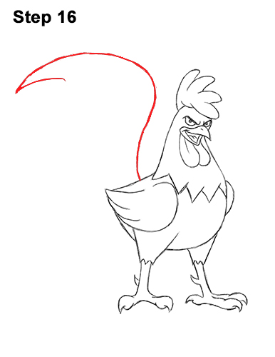 How to Draw Tough Cool Angry Brown Cartoon Rooster 16