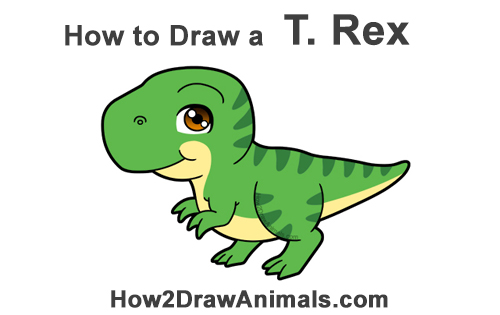 How To Draw A T Rex Cartoon Video Step By Step Pictures