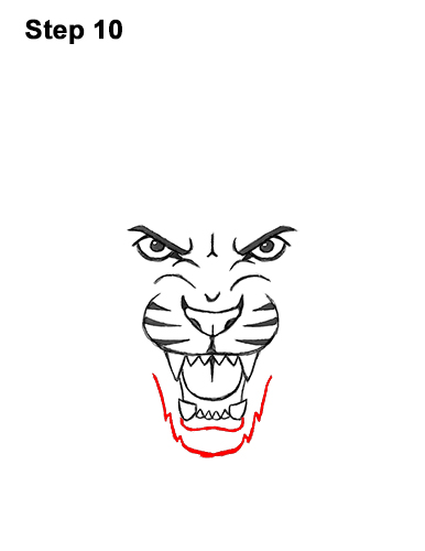 How to Draw Angry Roaring Cartoon Tiger Head 10