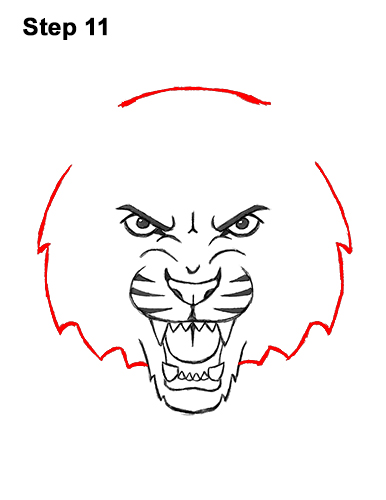 How to Draw Angry Roaring Cartoon Tiger Head 11