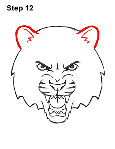 How to Draw Angry Roaring Cartoon Tiger Head 12