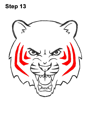 How to Draw Angry Roaring Cartoon Tiger Head 13