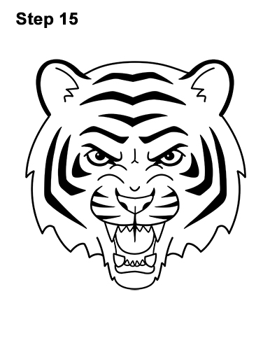How to Draw Angry Roaring Cartoon Tiger Head 15
