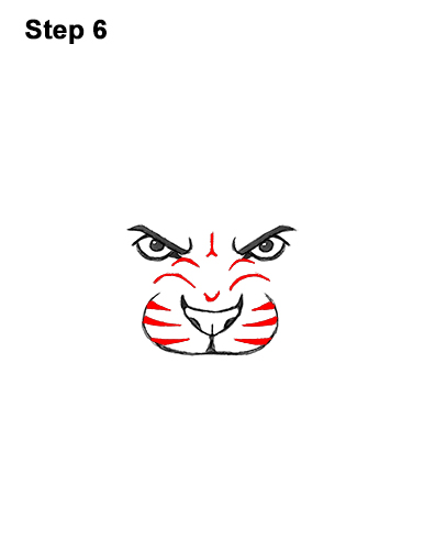 How to Draw Angry Roaring Cartoon Tiger Head 6