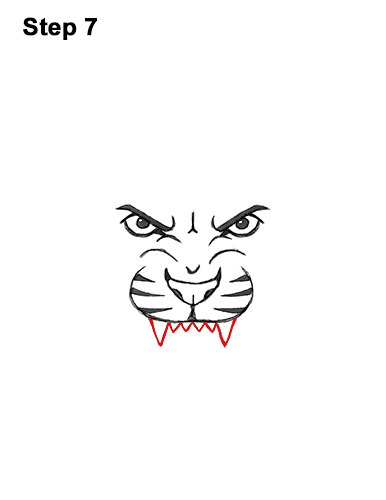 How to Draw Angry Roaring Cartoon Tiger Head 7