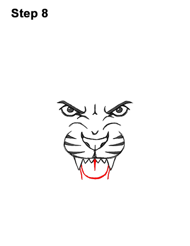 How to Draw Angry Roaring Cartoon Tiger Head 8