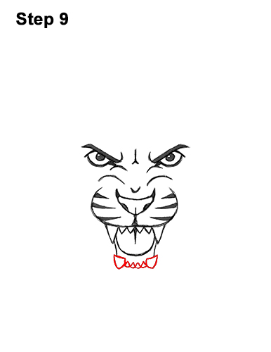 How to Draw Angry Roaring Cartoon Tiger Head 9