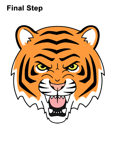 How to Draw Angry Roaring Cartoon Tiger Head 16