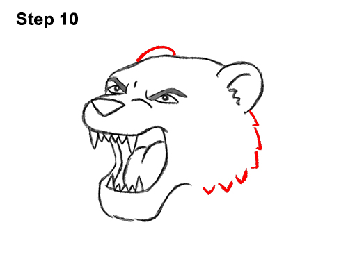 How to Draw Cartoon Tiger Roaring 10