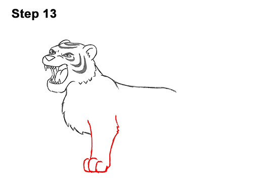 How to Draw Cartoon Tiger Roaring 13
