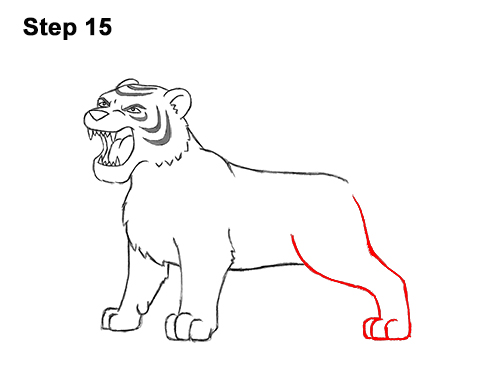 How to Draw Cartoon Tiger Roaring 15
