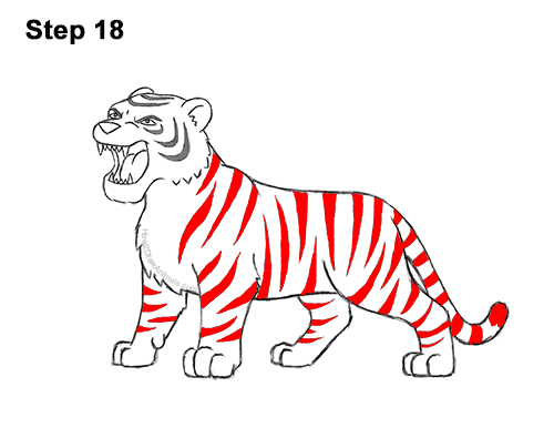 How to Draw Cartoon Tiger Roaring 18