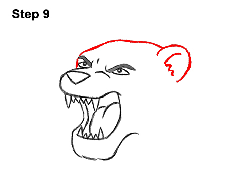 How to Draw Cartoon Tiger Roaring 9