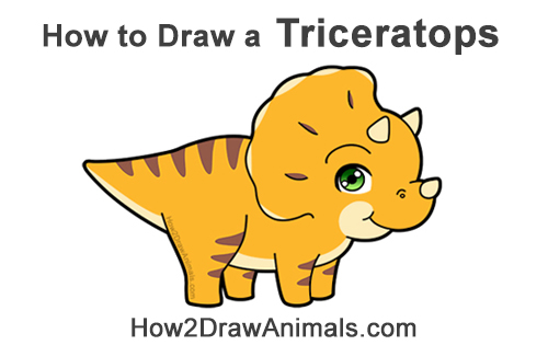 How to Draw a Cute Cartoon Triceratops Dinosaur Chibi Kawaii