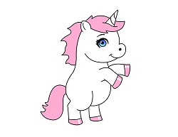 How to Draw a Cute Cartoon Unicorn Pink