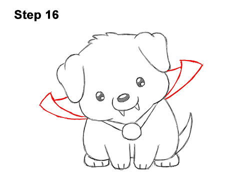 How To Draw A Puppy In A Vampire Costume For Halloween Video Step By Step Pictures