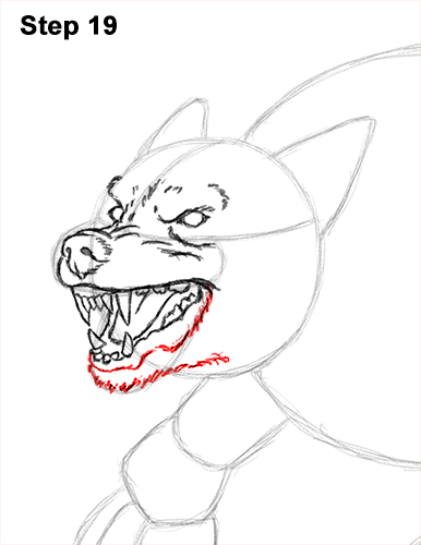 How to Draw Growling Snarling Scary Angry Werewolf 19