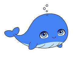 How to draw a Cute Cartoon Blue Whale Chibi Kawaii