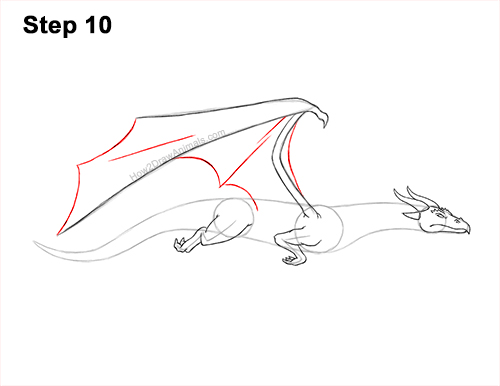 How to Draw a Wind Dragon Flying Wings 10