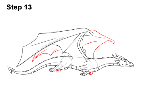How to Draw a Wind Dragon Flying Wings 13