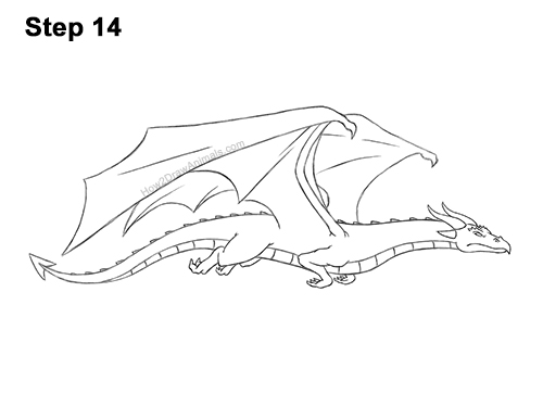 How to Draw a Wind Dragon Flying Wings 14