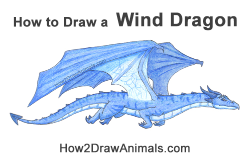 How to Draw a Blue Wind Dragon Flying Wings Color