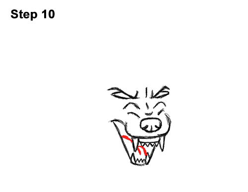 Draw Angry Mean Snarling Cartoon Wolf 10