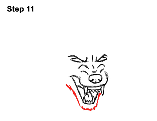 Draw Angry Mean Snarling Cartoon Wolf 11