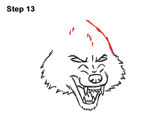 Draw Angry Mean Snarling Cartoon Wolf 13