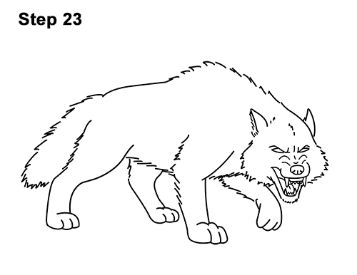 Draw Angry Mean Snarling Cartoon Wolf 23