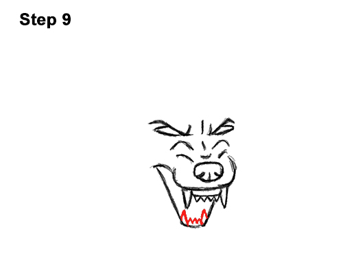 Draw Angry Mean Snarling Cartoon Wolf 9