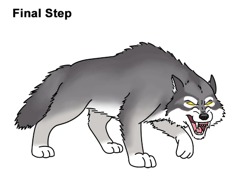 Draw Angry Mean Snarling Cartoon Wolf