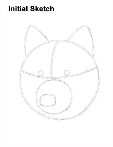 How to Draw Gray Wolf Head Portrait Guide Lines
