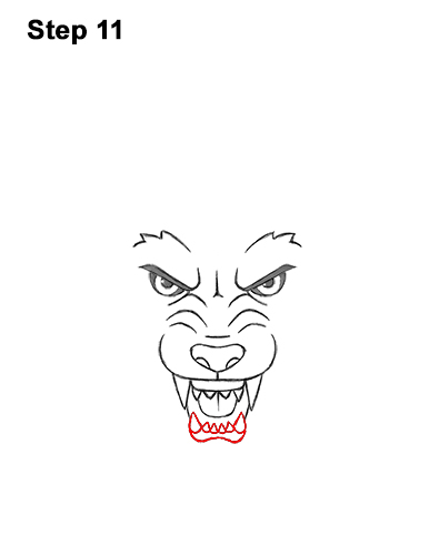 How to Draw Angry Growling Snarling Cartoon Wolf Head 11