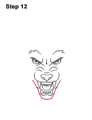 How to Draw Angry Growling Snarling Cartoon Wolf Head 12