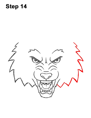 How to Draw Angry Growling Snarling Cartoon Wolf Head 14