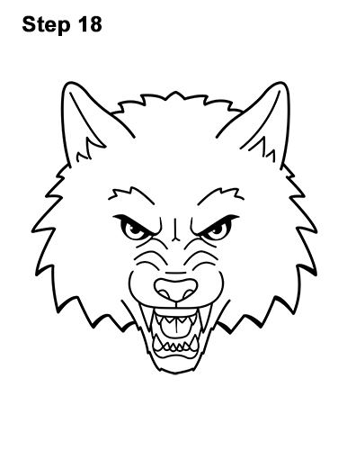 How to Draw Angry Growling Snarling Cartoon Wolf Head 18
