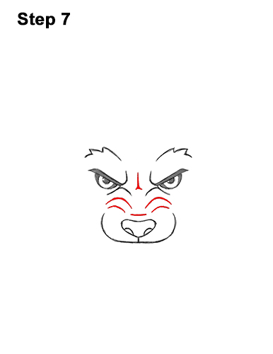 How to Draw Angry Growling Snarling Cartoon Wolf Head 7