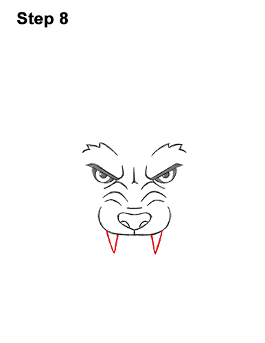 How to Draw Angry Growling Snarling Cartoon Wolf Head 8