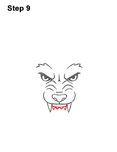 How to Draw Angry Growling Snarling Cartoon Wolf Head 9