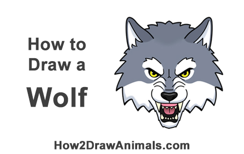 How to Draw Angry Growling Snarling Cartoon Wolf Head