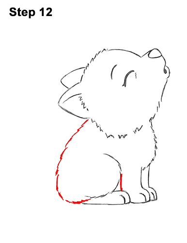 How to Draw Cute Little Cartoon Wolf Pup Cub Howling 12