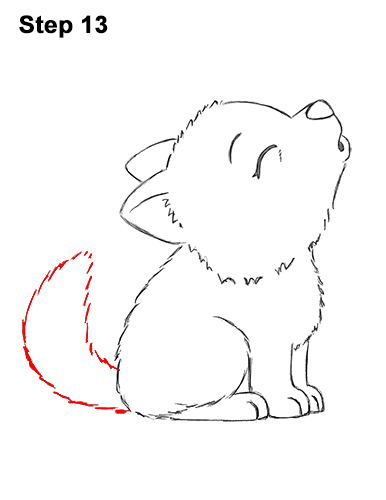 How to Draw Cute Little Cartoon Wolf Pup Cub Howling 13