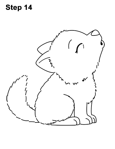 How to Draw Cute Little Cartoon Wolf Pup Cub Howling 14