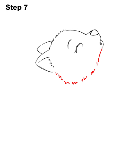 How to Draw Cute Little Cartoon Wolf Pup Cub Howling 7